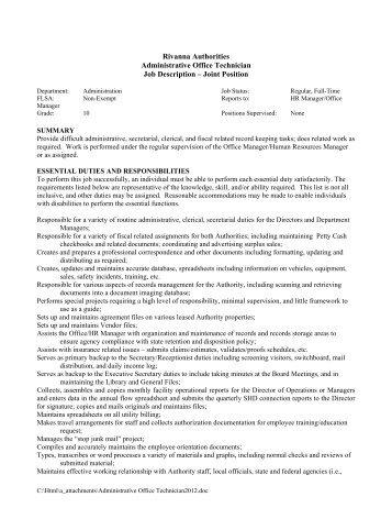 Rivanna Authorities Administrative Office Technician Job Description