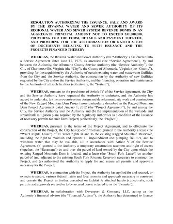 resolution authorizing the issuance, sale and award ... - Rivanna.org