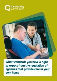 to expect from the regulation of agencies that provide care in your own home