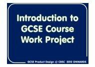 GCSE Product Design @ CBSC 2012 ONWARDS