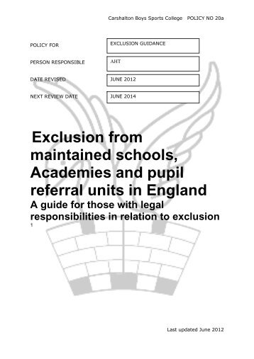 maintained schools Academies and pupil referral units in England
