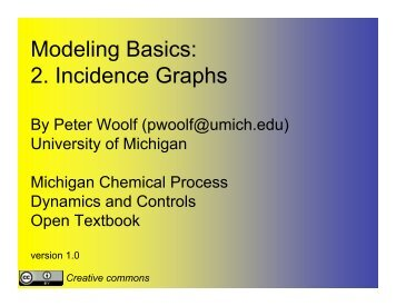 Modeling Basics 2 Incidence Graphs