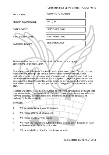 Reports to Parents - Carshalton Boys Sports College