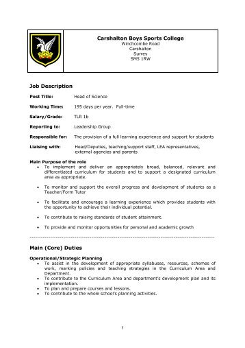 Carshalton Boys Sports College Job Description Main (Core) Duties