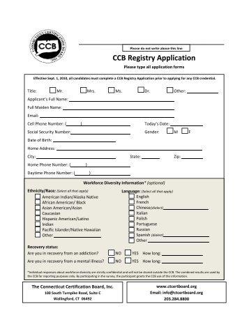 CCB Registry Application