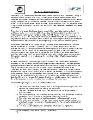 CCB Written Case Presentation Overview - Connecticut Certification ...