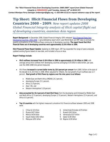 Tip Sheet Illicit Financial Flows from Developing Countries 2000 – 2009
