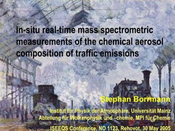 In-situ real-time mass spectrometric measurements of the chemical ...