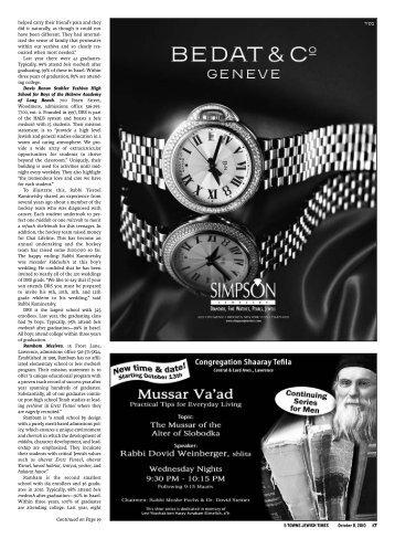 5 TOWNS JEWISH TIMES October 8, 2010 17 s ... - Rambam Mesivta