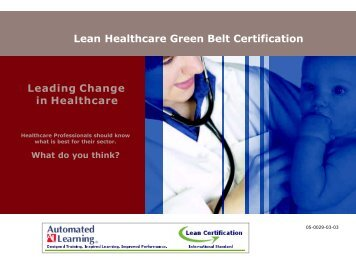 Lean Healthcare Green Belt Certification Leading Change in Healthcare