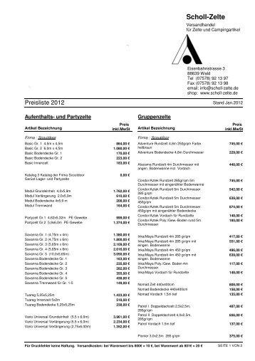 Preisliste VK - Scholl-Zelte
