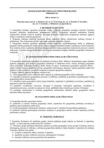 GEOGRAFIJOS BRANDOS EGZAMINO PROGRAMOS PROJEKTAS ...