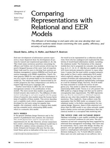 Comparing Representations wit Relational and EER Models h