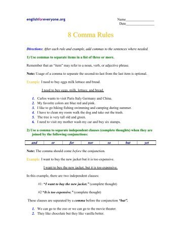 8 Comma Rules English For Everyone