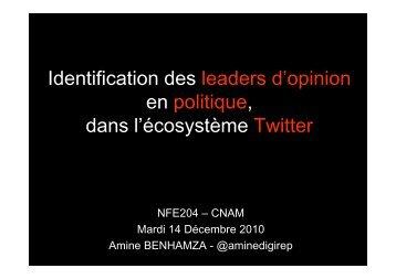 Identification des leaders d'opinion en politique, dans l ... - Cnam