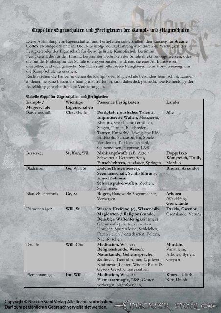 Tipps für Eigenschaften und Fertigkeiten der Kampf- und Magieschulen