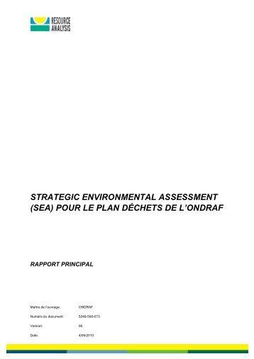 STRATEGIC ENVIRONMENTAL ASSESSMENT (SEA) POUR LE PLAN DÉCHETS DE L'ONDRAF