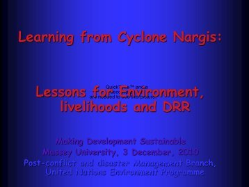 livelihoods and DRR