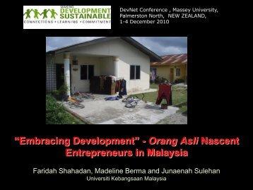 """Embracing Development"" - Orang Asli Nascent Entrepreneurs in Malaysia"