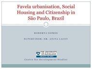 Favela urbanisation Social Housing and Citizenship in São Paulo Brazil