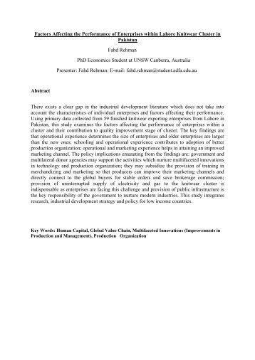 Rehman, Fahd. Factors Affecting Performance of ... - DevNet