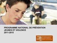 PROGRAMME NATIONAL DE PRÉVENTION JEUNES ET VIOLENCE 2011-2015
