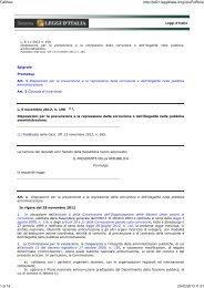 Legge 6-11-2012 n. 190 Disposizioni per la prevenzione e la ...
