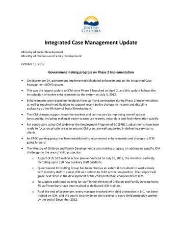 Integrated Case Management Update