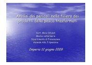 Analisi dei pericoli nella filiera dei prodotti della pesca trasformati