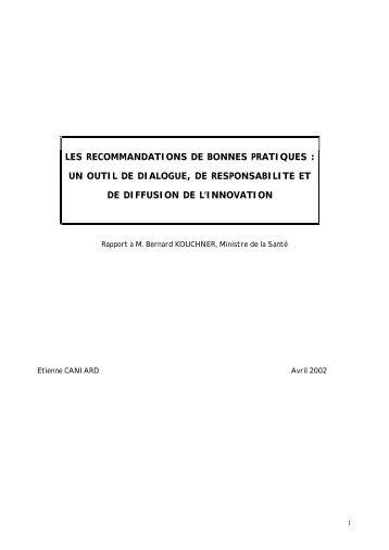 les recommandations de bonnes pratiques - La Documentation ...