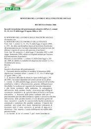 MINISTERO DEL LAVORO E DELLE POLITICHE ... - SLP CISL