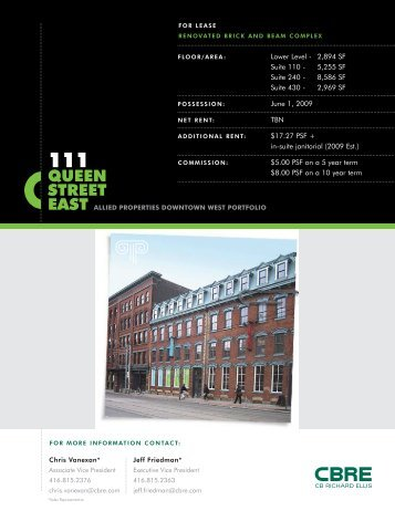 Downtown East Toronto Commercial Real Estate April 2009