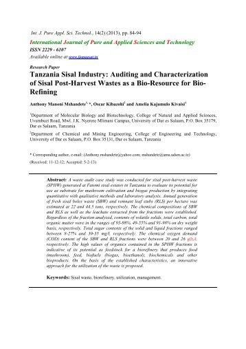 Tanzania Sisal Industry: Auditing and Characterization of Sisal Post ...