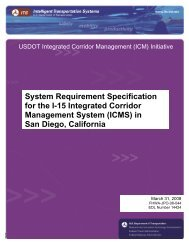 System requirement specification for the I-15 integrated corridor ...