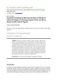 Seasonal Variations in Bioconcentration of Metals in Selected ...