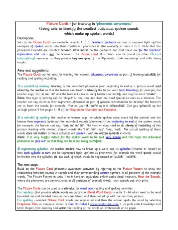 Picture Cards - for training in - Phonics International