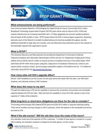 BTOP GRANT PROJECT - Iowa Communications Network