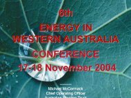 6th ENERGY IN WESTERN AUSTRALIA CONFERENCE 17-18 November 2004