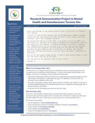 Research Demonstration Project in Mental Health and - City of Toronto