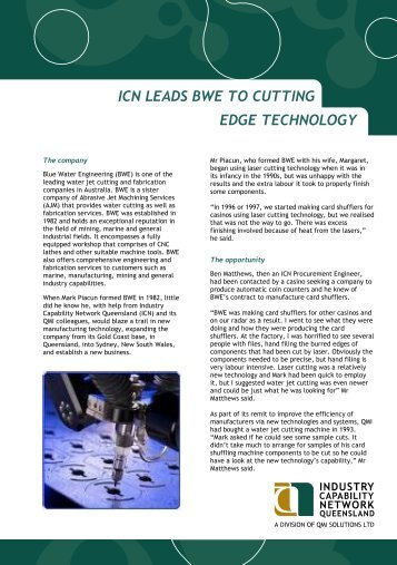 icn leads bwe to cutting edge technology - Industry Capability ...
