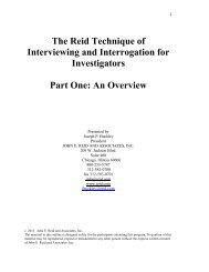 The Reid Technique of Interviewing and Interrogation for ...