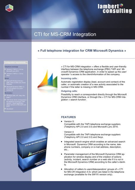 CTI for MS-CRM Integration Microsoft Integration telephone