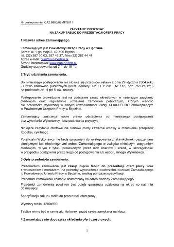 zakup tablic do prezentacji ofert pracy - w.pup.bedzin.pl.