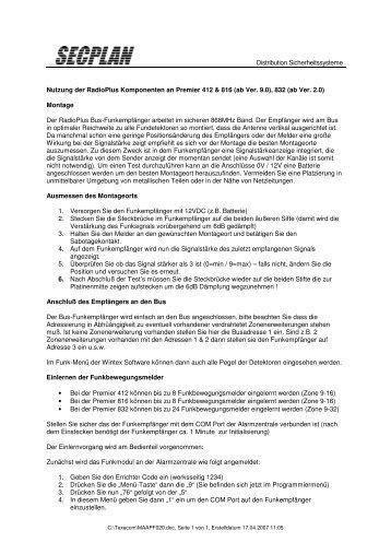 Anleitung zum Einlernen von Funkkomponenten - Secplan