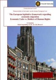 The European legislative framework regarding economic migration ...