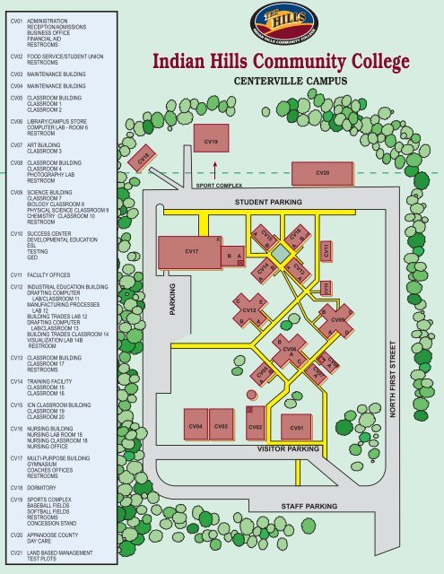 Union County College Campus Map.Centerville Campus Map Indian Hills Community College