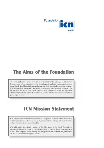 ICN Mission Statement The Aims of the Foundation - Neziskovky