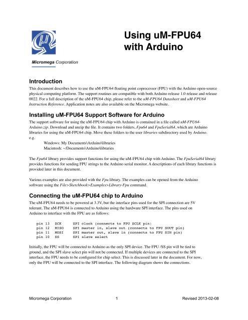 Using uM-FPU64 with Arduino