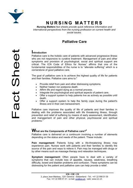 Settings For Palliative Care Ordem Dos Enfermeiros