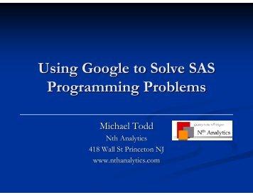 Using Google to Solve SAS Programming Problems